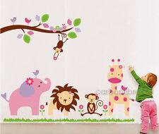 HUGE Jungle Animal Zoo Wall Stickers Nursery Girls Childrens Bedroom Art Decals