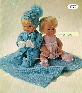 """Dolls clothes knitting pattern for 12-14-16"""" doll. Laminated copy. (V Doll 33)"""