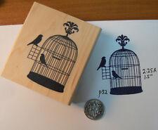 "P32 Bird cage silhouette rubber stamp WM 2x1.5"""