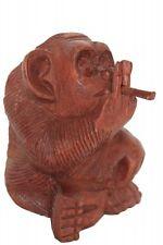 Holzfigur Figur cooler Affe Affen mit Joint rauchend H: 12cm