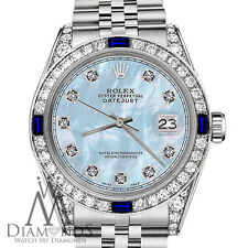 Rolex 26mm Datejust Baby Blue MOP Dial with Sapphire & Diamond Bezel