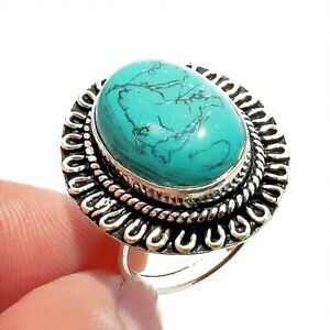 Blue Turquoise 925 Sterling Silver Jewelry Ring Size- 6.5