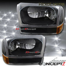Black Style Headlights & Corners 4 Pcs Combo for 1999-2004 Ford F250 Excursion