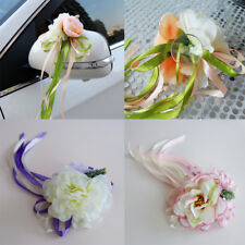Artificial Ribbon Flower Bows Wedding Car Rearview Mirror Doors Handle Decor