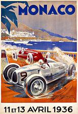 Art Ad Monaco Grand Prix Auto Car Race 1936  Deco   Poster Print