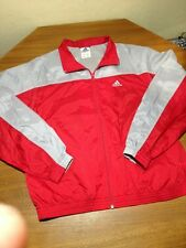 Vtg 2001 Mens Adidas Athletic Track Jacket Red Gray Size L Large Nylon