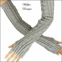 Super Long Cable Knit Pattern Knitted Ladies Extra Long Length Fingerless Gloves