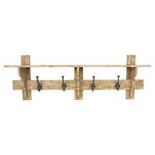Rustic Natural Solid Wood Wall Shelf and Hooks Coat Rack Hallway Width 91cm