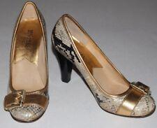 Michael Kors 7 M Python Print Gold Round Toe Pump Heel Buckle Leather Sole $149