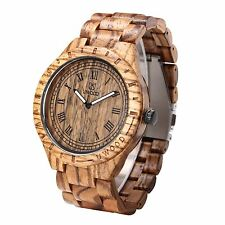 Uwood Luxury Brand Zebra Sandal Wooden Mens Quartz Fashion Natural Wood Watch