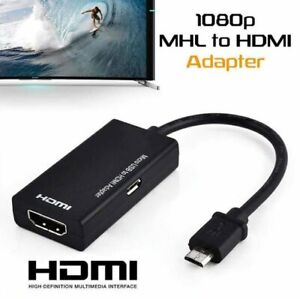Micro USB to HDMI Cable MHL Adapter 1080p HD TV Android Phone Samsung HTC Black