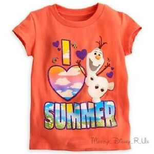 New Disney Store Frozen Olaf Snowman I Heart (Love) Summer Tee T-Shirt Top 4-10