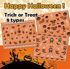 Halloween ! Nail Art Stickers Self-adhesive 3D Gold Pumpkin Vampire Spider Skull