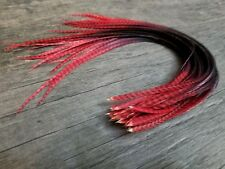 Feather hair extensions multi tone thin ginger grizzly black & red beads SALE