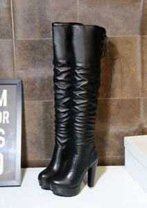 Women Platform Block Heels Pleated Zip Lace Up Over The Knee Boots Fashion Shoes