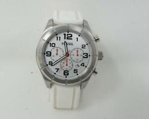 Fossil Stella Stainless Steel/Silicone Strap Watch White/Silver-Model #1341403