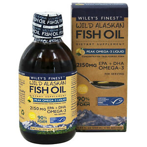 Wiley's Finest Wild Alaskan Fish Oil Peak Omega-3 Liquid, Lemon, 8.45 Ounces