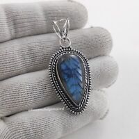 925 Handmade Pendant Sterling Silver Necklace Top Quality Flashy Blue Fire Stone