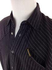 E2EKIEL BLACK LABEL EDITION SNAP BUTTON S/S SHIRT MENS LARGE BLACK PIN STRIPED