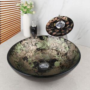 Multi-color Bathroom Round Glass Vessel Sink Wash Basin Bowl Mixer Faucet Drain
