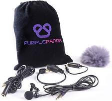 Purple Panda Lavalier Lapel Microphone Kit Clip-on Lav Mic Recording Accessories