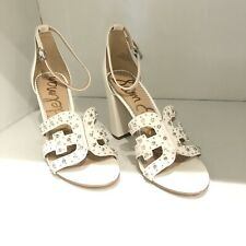 White Hight Heel Sandals Size 9..5  Sam Edelman With Studs  Chunky Heel