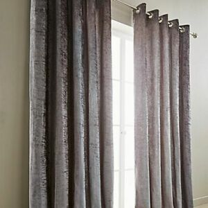 CRUSHED VELVET   FULLY LINED EYELET / RING TOP  CURTAINS (IN 6 FAB COLOURS)
