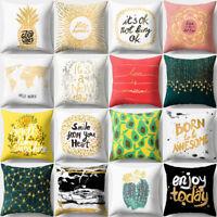 EE_ LK_ Gold Print Polyester Throw Pillow Case Sofa Car Cushion Cover Home Decor