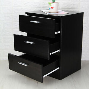 Modern Bedside Table Cabinet Chest of Drawers Nightstand 3 Tier Drawers Bedroom