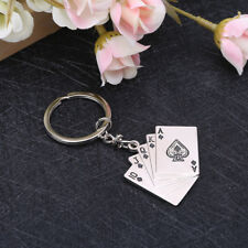 Creative Silver Metal Key Chain Ring Poker Keychain Playing Cards Keyfob Keyring