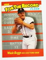 """Wade Boggs Fleer 1989 """"For The Record"""" MLB  Card #1 of 6 Boston Red Sox"""
