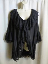 Lady Noiz Lace Jacket Black Lagenlook Ruffled Asymmetrical L Large
