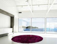poils longs Tapis de qualité uni Shaggy Moderne violet noir ∅200 cm rond