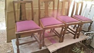 SET OF VINTAGE ENGLISH OAK MISSION ARTS & CRAFTS DINING CHAIRS FISH SCALE BACKS