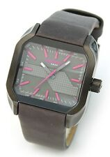 NEW DIESEL BLACK TONE,BLACK LEATHER BAND,PINK MARKERS,5 BAR WATCH-DZ5221