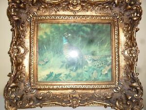 art painted tile - a thornbird lovely picture and frame - house clearance find