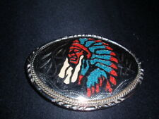 Silver Indian Chief Belt Buckle HEAVY