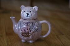 Pink Mama Bear with Apple Basket Tea Pot Collectible Teapot
