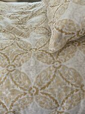 Southern Living Comforter -2 Shams -King Size -Light Gold-Silver On White-Euc