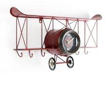 Shabby Chic Red Iron Aero Plane Shape Wall Clock With Shelf and Hooks Home Decor