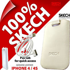 Skech Pouch Pull Tab GENUINE LEATHER Case for iPhone 4 4S + USB Charging Cable