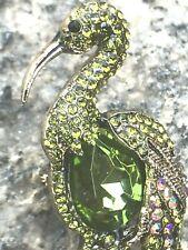 Green Crystal Rhinestone Animal Vintage Pin Brooch Flamingo Bird Gold Tone USA