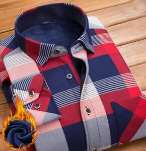 Thermal winter warm men shirt thick velvet soft lining plush fabric