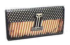Harley-Davidson Mens Uno Flag #1 Skull Logo Black Leather Trucker Wallet
