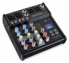 DJ PA 4-Kanal Mini Mixer Mischpult USB Bluetooth XLR Klinke Kopfhörer Gitarre