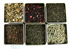 Luxury Loose Tea 6 Sample Set   Silver Needle Elderberry Gyokuro Genmaicha