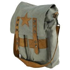 Military Style Star Canvas & Leather Crossbody Tote Bookbag/Messenger/School Bag
