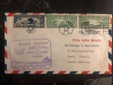 1930 San Juan Puerto Rico USA First Flight Cover FFC To Para Brazil FAM 10