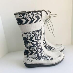 TEVA WINTER BOOTS Womens 8.5 White N Black 4058 Kiru Nubuck Leather Fleece Lined