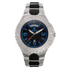 Croton Men's CA301287SSBL Super C Quartz Blue Markers Black Dial 48mm Watch